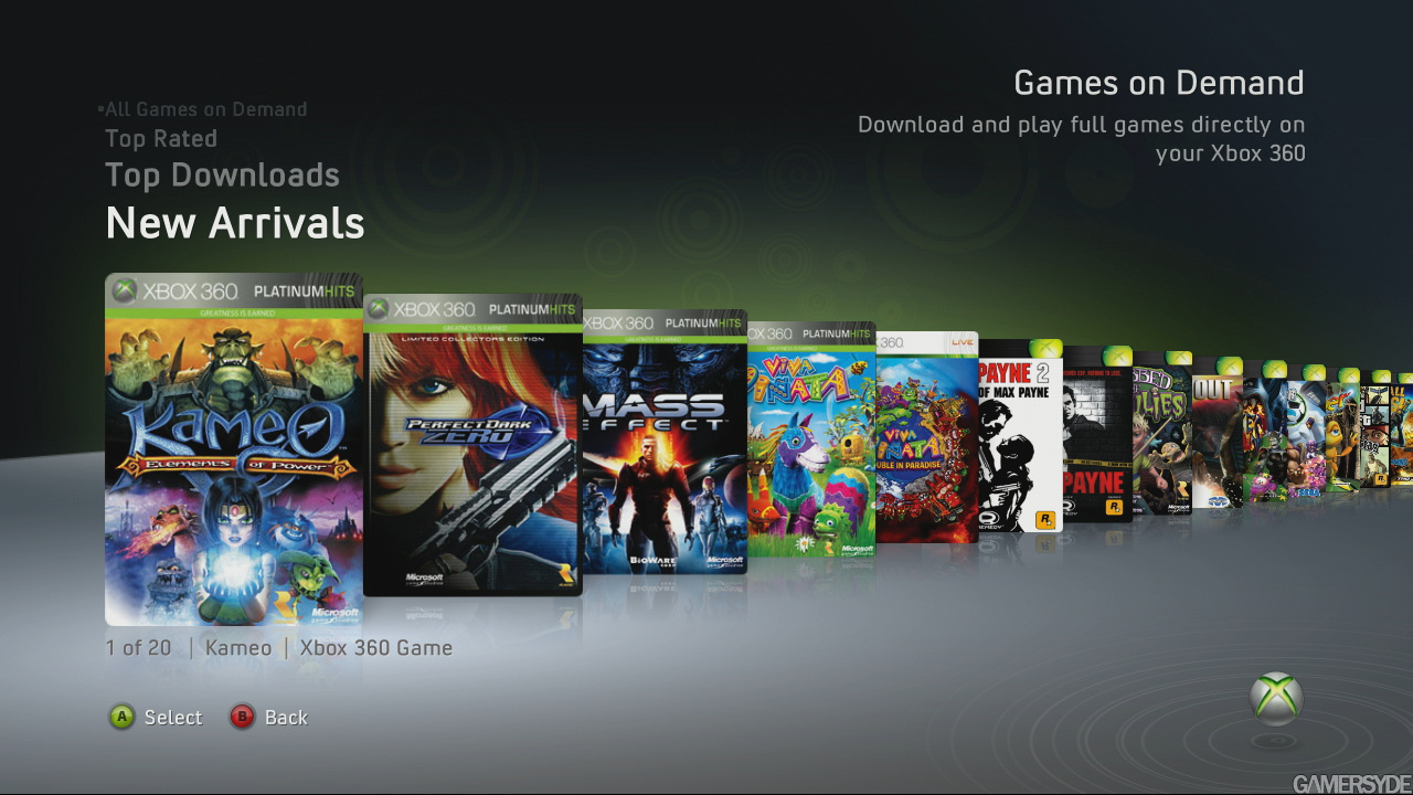 The screenshot of the new XBL update shows recent-generation games being available for download.